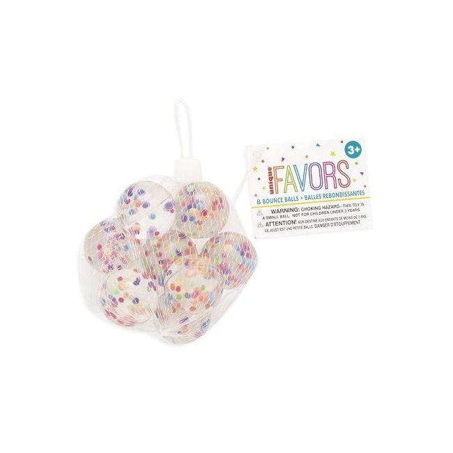 Unique 8 Confetti Bouncy Balls