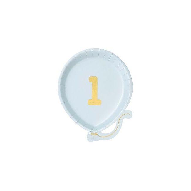 Talking Tables We Heart Balloon Plate 1st Birthday Blue