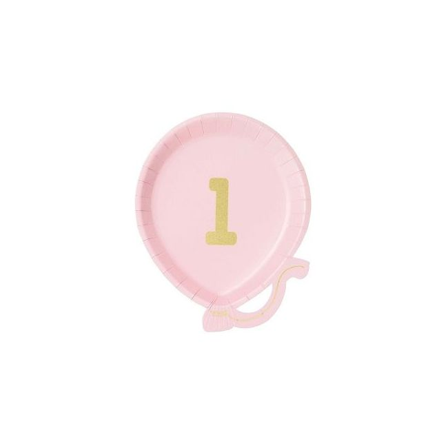 Talking Tables We Heart Balloon Plate 1st Birthday Pink