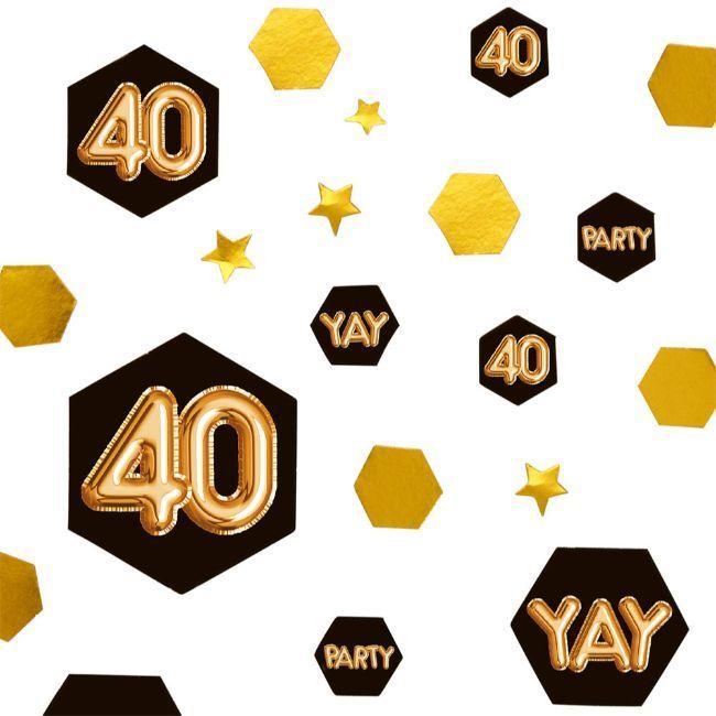 Neviti Glitz & Glamour Black & Gold Confetti Scatter - Age 40