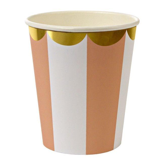 Meri Meri Toot Sweet Orange Stripe Party Cups