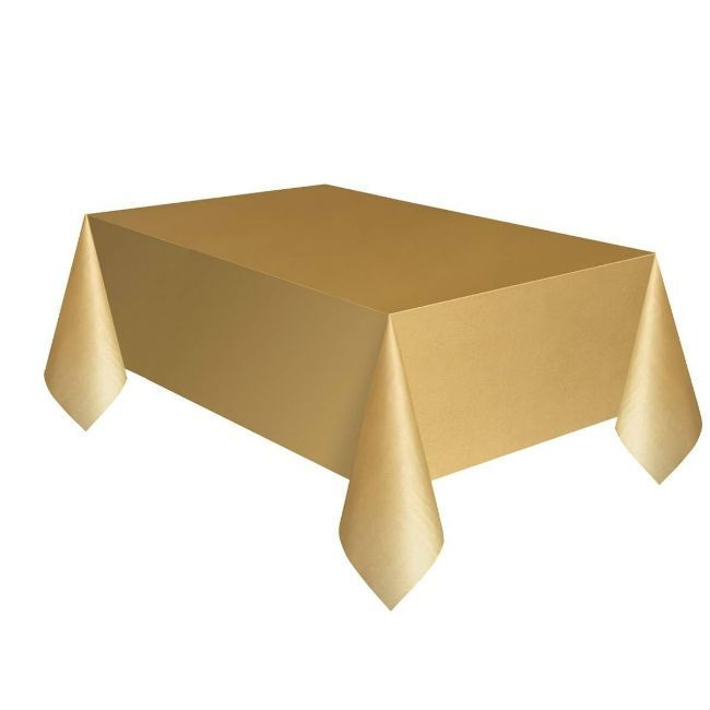 Unique Gold Plastic Table Cover