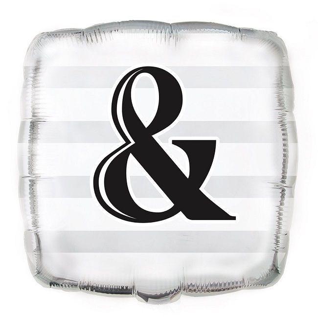 """Unique Silver """"&"""" Wedding Foil Balloon"""