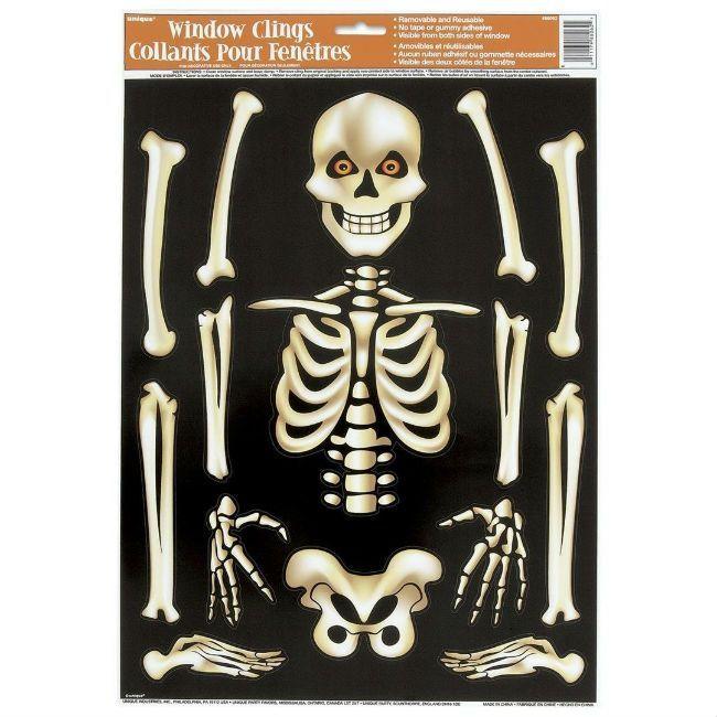 Unique Skeleton Halloween Window Clings Sheet
