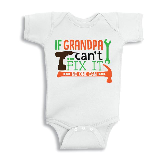 Twinkle Hands If Grandpa Can't Fix It Baby Onesie, Bodysuit, Romper
