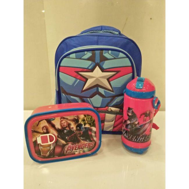 EM - Avengers Marvel  Bundle Cartoon Bag Lunch Box Water Bottle For Kids