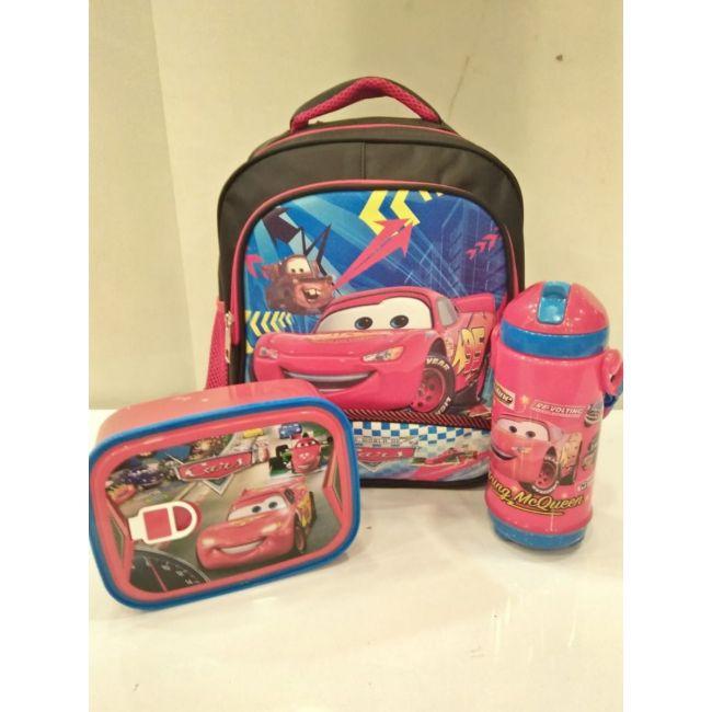 EM - Lightening Mcqueen Cartoon Bundle Cartoon Bag Lunch Box Water Bottle For Kids