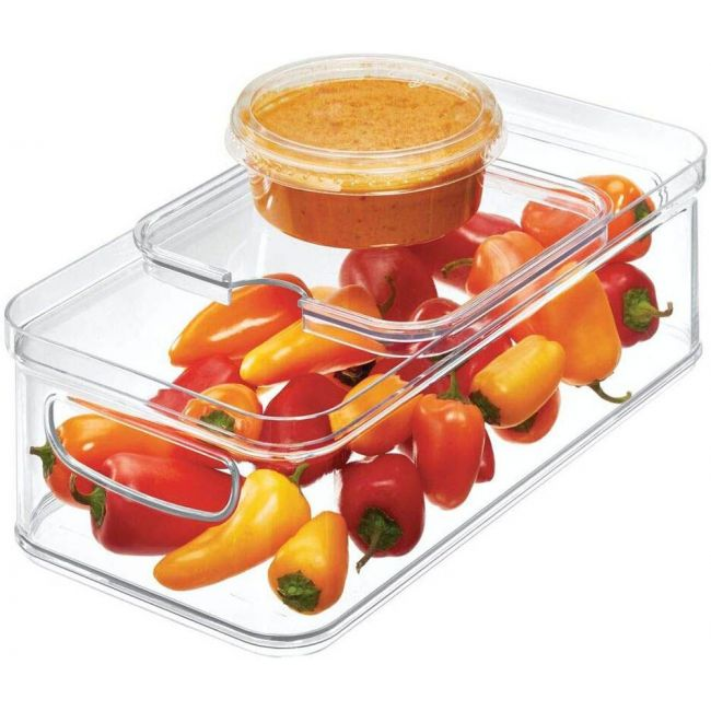 Interdesign - Crisp Stackable Refrigerator And Pantry Bin With Sliding Tray, Bpa Free Plastic, Clear