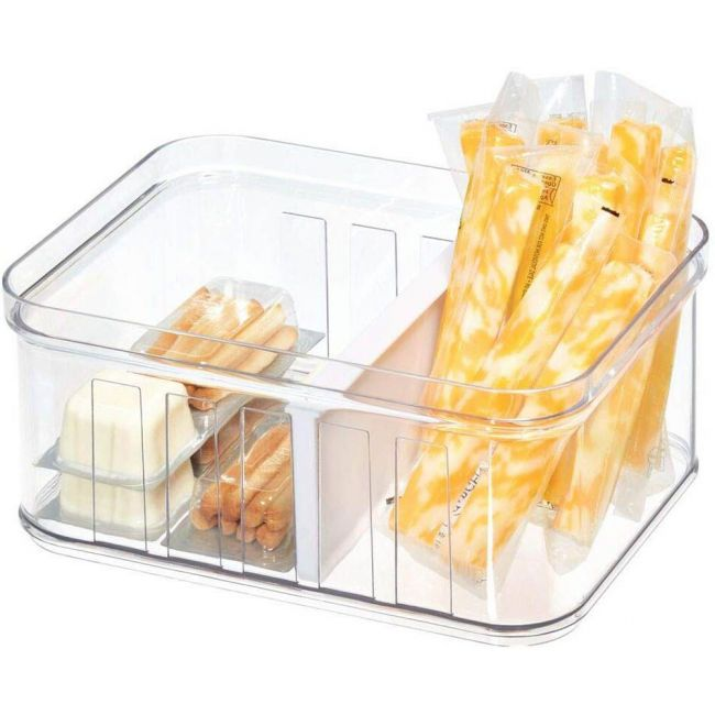 Interdesign - Crisp Stackable Refrigerator And Pantry Small Divided Bin, Bpa Free Plastic, Clear And White