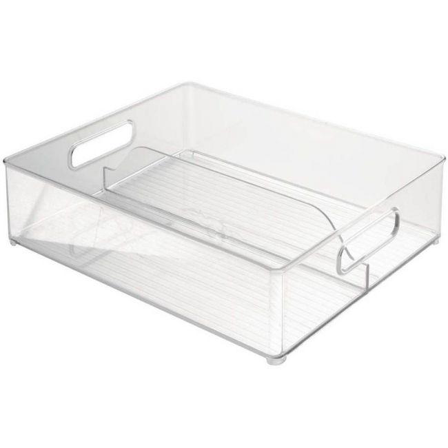 Interdesign - Fridge/Freeze Binz Storage Boxes, Kitchen Storage Container With 2 Compartments, Plastic, Clear