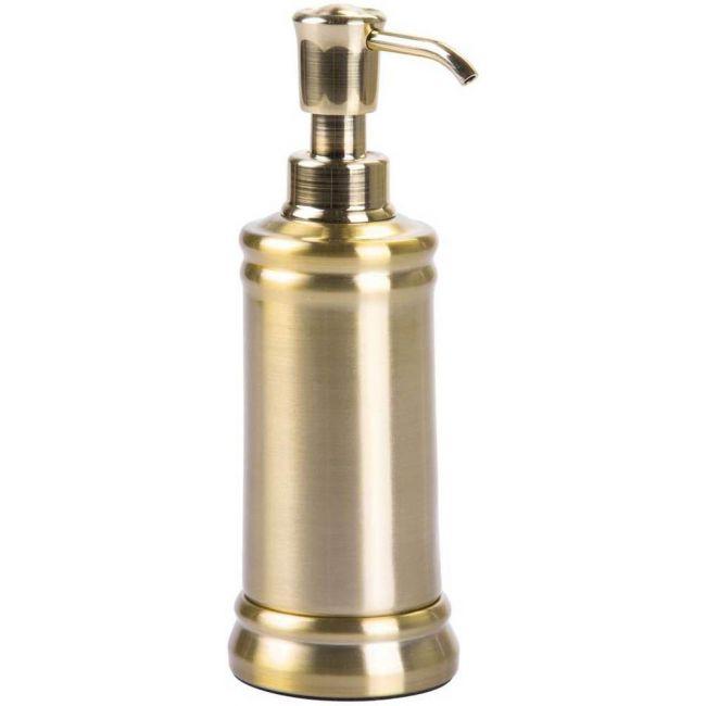 Interdesign - Sutton Soap Pump Dispenser For Bathroom Countertop Or Kitchen Sink, Soft Brass