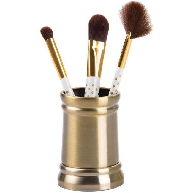 Interdesign - Sutton Tumbler Cup For Bathroom Vanity Countertops, Soft Brass