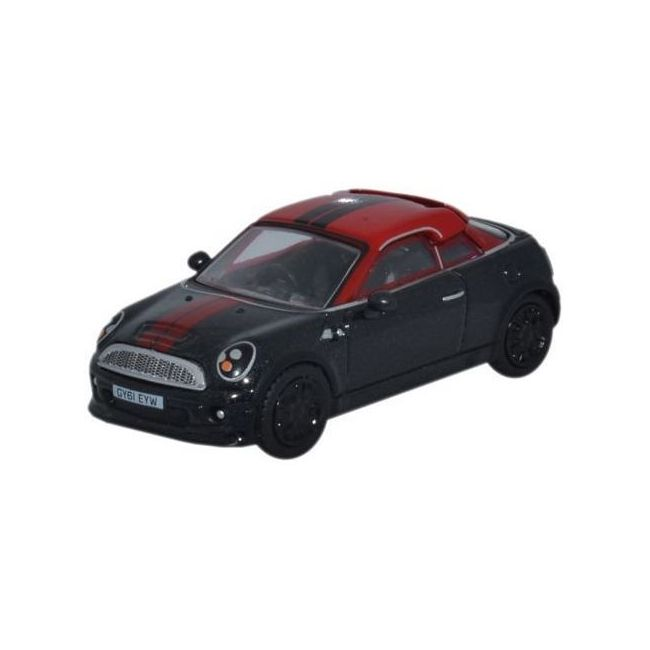 Oxford Diecast Mini Coupe Midnight Black/Red Toy Car
