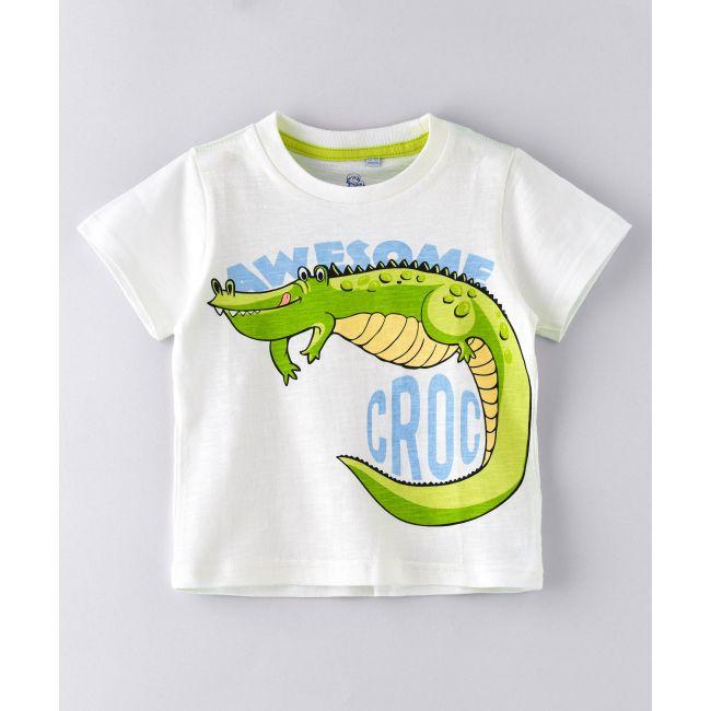 Jam -  Round Neck T Shirt  With Croic Print White
