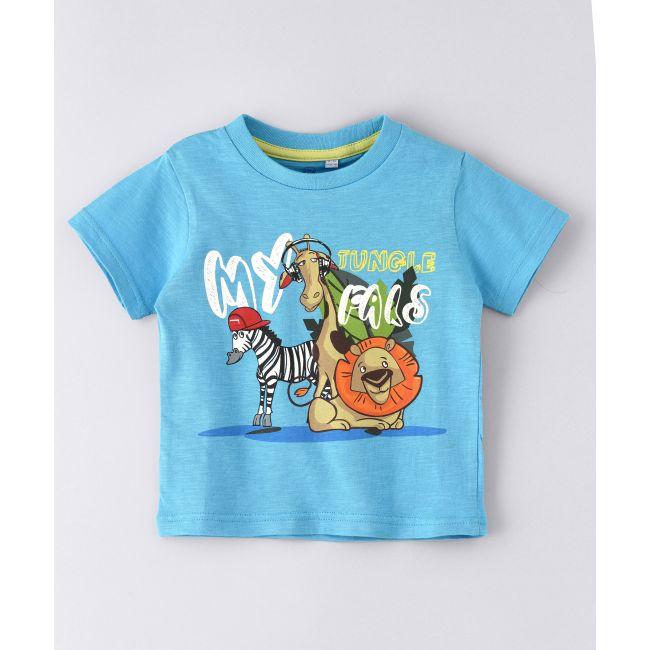 Jam -  Round Neck T Shirt  With  Zebra Print Blue