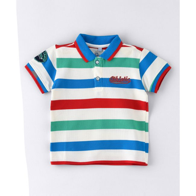 Jam -  Short Sleeve Broad Stripe Polo T Shirt With Patch Emb On Sleeves Multicolour
