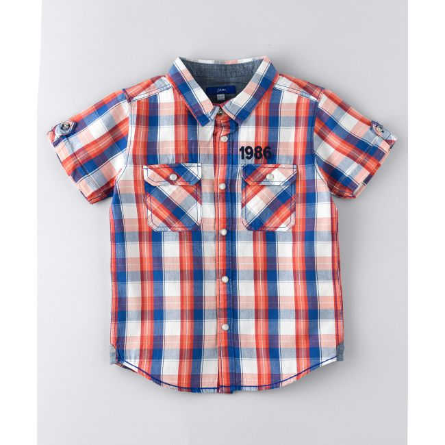 Jam -  Short Sleeve Check Shirt With Emb Above Pocket Red