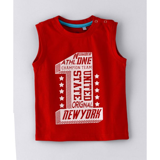 Jam -  Sleeveless Less T Shirt With Number One Print Red