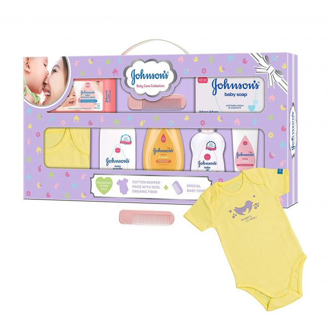 Johnson's - Baby Care Collection Baby Gift Set With Organic Cotton Baby Dress 8 Pieces