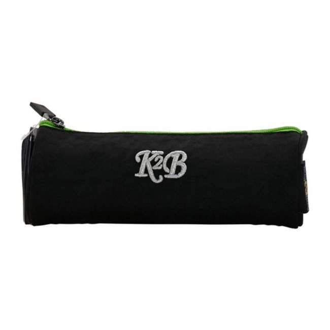 K2B Round Black and Green Pencil Case