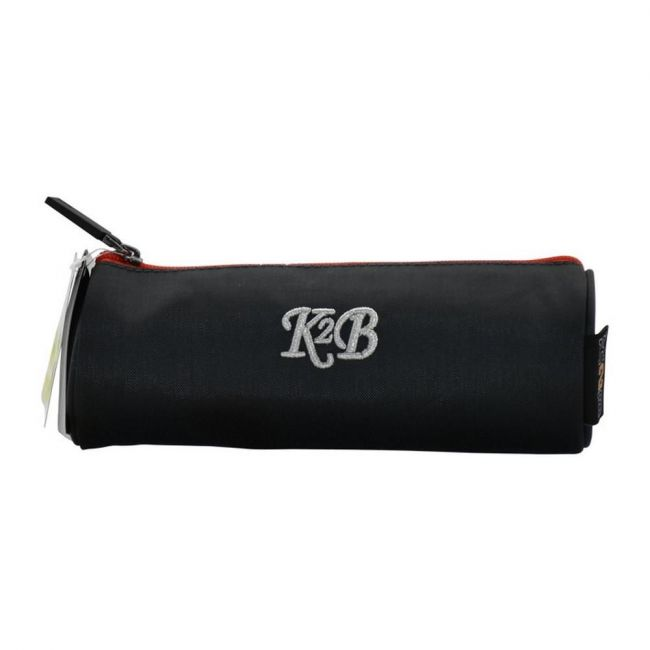 K2B Round Grey and Red Pencil Case