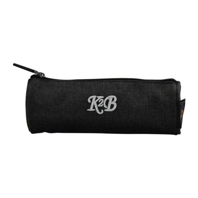 K2B Round Grey Pencil Case