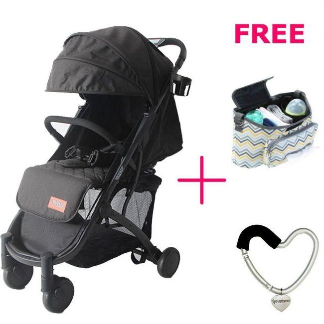 Keenz Air Plus Baby Stroller - Black + Free Stroller Hook & Stroller Organizer