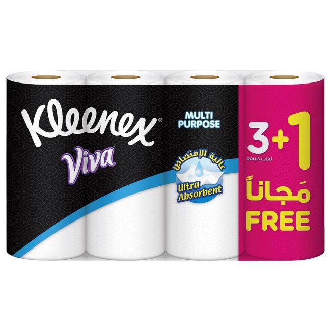 Kleenex Viva Pack of 4 Multi Purpose Household Tissue Roll