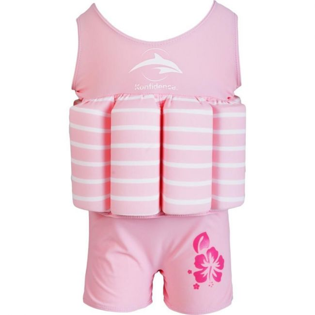 Konfidence Pink Stripe Float Suit Buoyancy Aid for Swimming with Removeable Floats