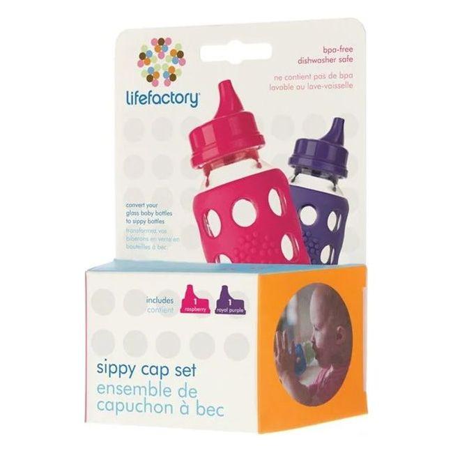Lifefactory Raspberry & Royal Purple Sippy Cap Set - 2pcs