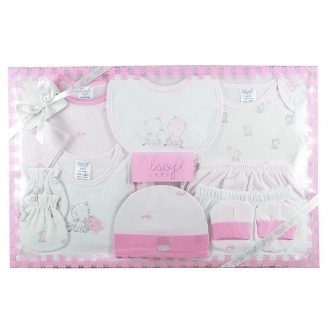 Lilsoft New Born Baby's Printed Clothing Gift Set Box For Girls