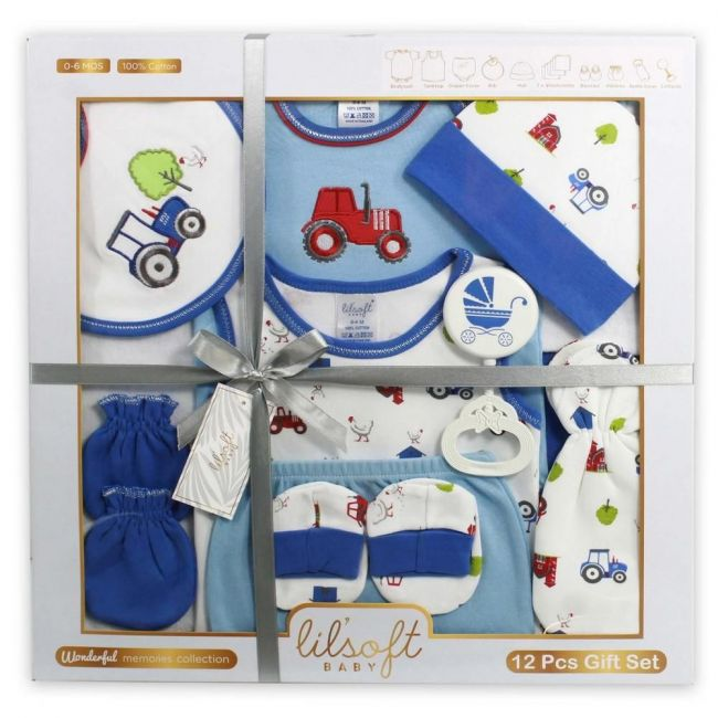 Lilsoft New Born Baby's Tractor Clothing Gift Set Box For Boys