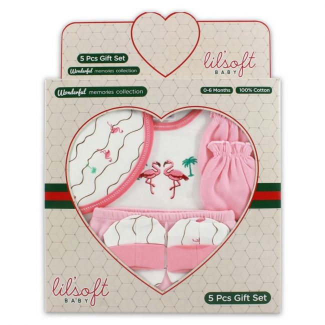 Lilsoft New Born Baby's Stork Birds Clothing Gift Set Box For Girls