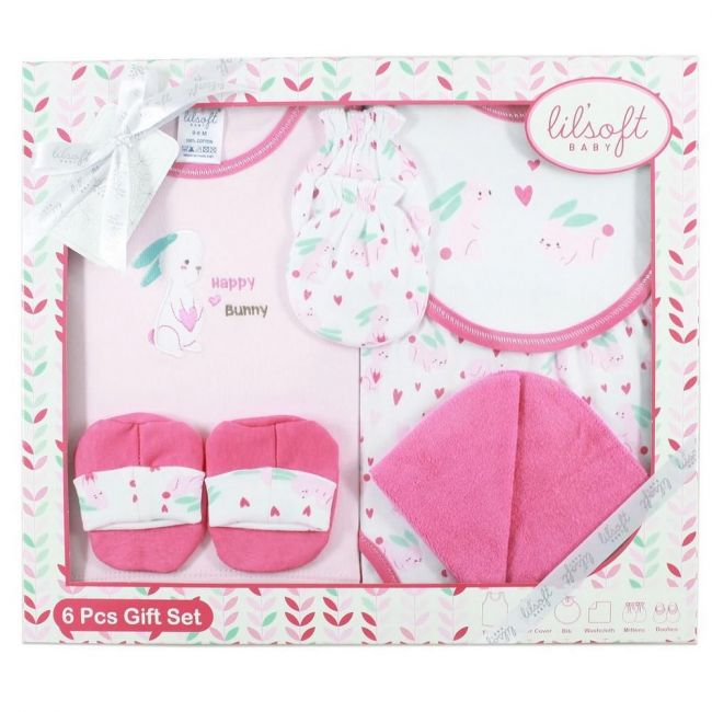 Lilsoft New Born Baby's Happy Bunny Clothing Gift Set Box For Girls