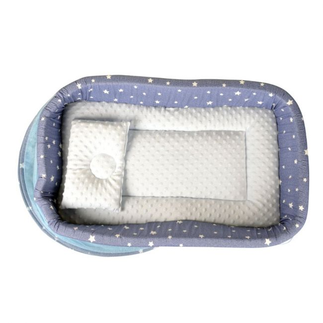 Little Angel - Baby Bed with Comfy Paddings - Blue