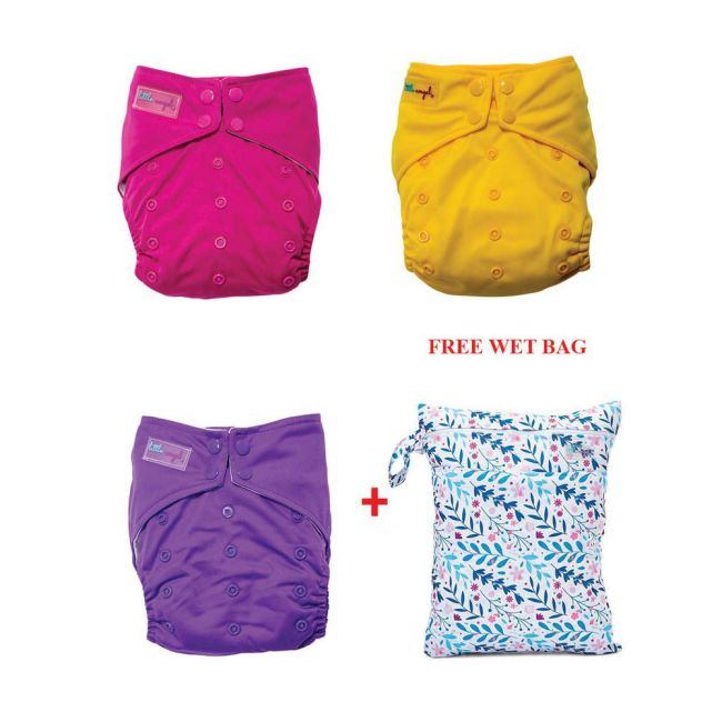 Little Angel - Baby Pocket Cloth Diapers All In One Reusable Pack of 3 W/Free Wet Bag