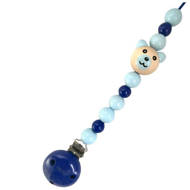 Little Mico - Navy Pacifier Holder With Bear