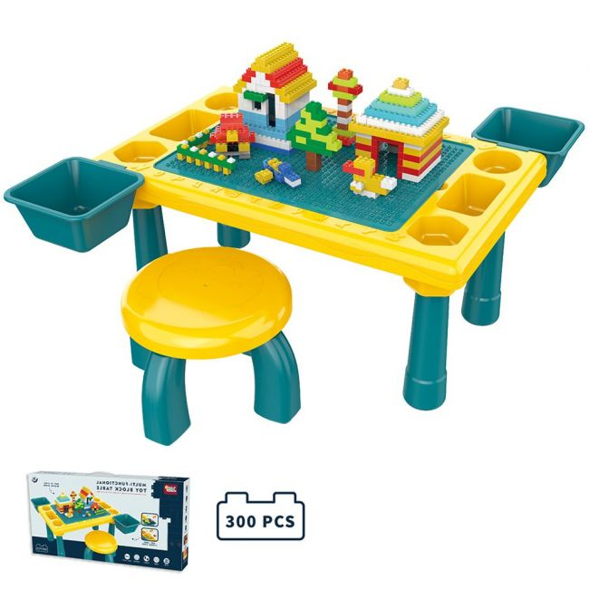 Little Story - Blocks 4 In 1 Activity Table Wt Stool - Green