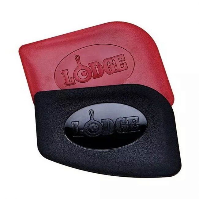 Lodge - Pan Scrapers, Set Of 2 Handheld Polycarbonate Cast Iron Pan Cleaners, Red & Black