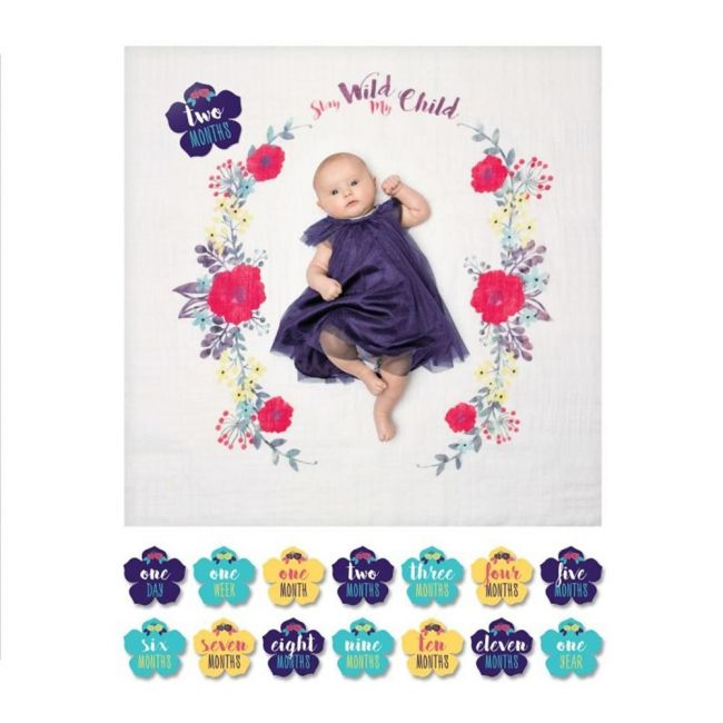 Lulujo Baby's First Year Blanket & Card Set - Stay wild My child