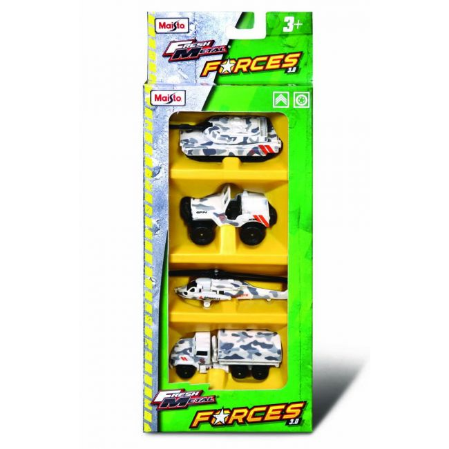 Maisto - Forces 3 Set Of 4 Pack White Camo