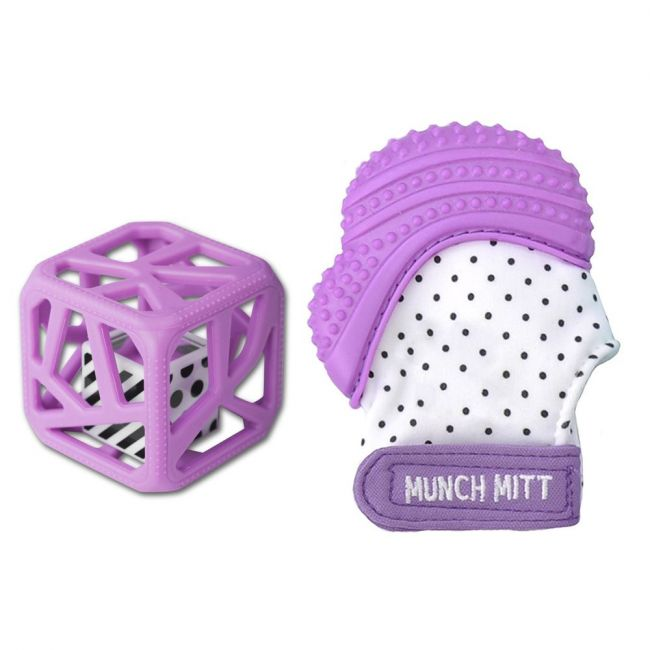 Malarkey Kids - Teething Toy - Munchmitt + Chewcube Teething Toy - Purple