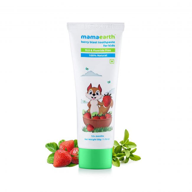 Mama Earth - 100 Natural Berry Blast Tooth Paste For Kids 50 Gm