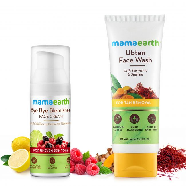Mama Earth - Bye Bye Blemishes 50 Ml 100 Ubtan Face Wash For Mama 100 Ml