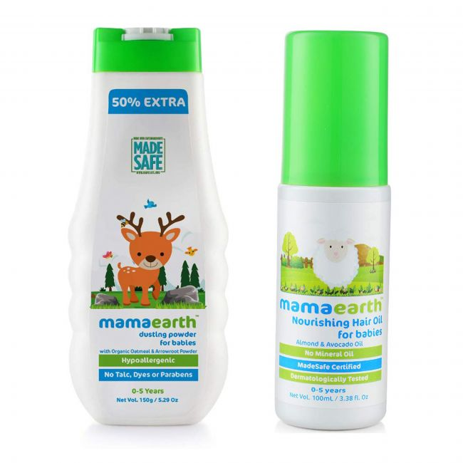 Mama Earth - Dusting Powder For Babies 150 Gm Nourishing Hair Oil For Babies 100 Ml