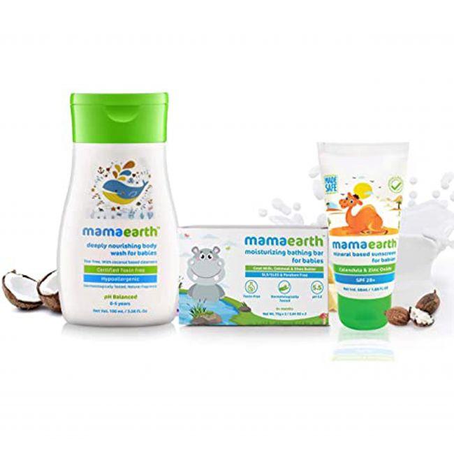 Mama Earth - Gentle Cleansing Shampoo 100 Ml Moisturizing Bathing Bar Soap For Babies