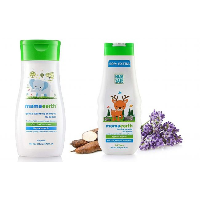 Mama Earth - Gentle Cleansing Shampoo 100 Ml Moisturizing Daily Lotion For Babies 100 Ml Dusting Powder For Babies 150 Gm