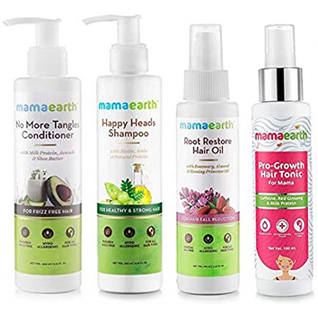 Mama Earth - Happy Head Shampoo 200 Ml No More Tangles Hair Conditioner 200 Ml Pro Growth Hair Tonic Root Restore Hair Oil