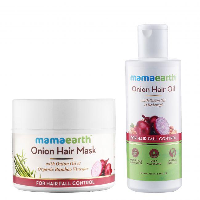 Mama Earth - Onion Oil 150 Ml Onion Hair Mask 200 Ml