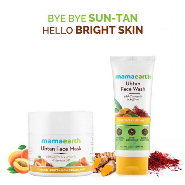 Mama Earth - Ubtan Face Mask For Skin Lightening 100 Ml Ubtan Face Wash For Mama 100 Ml